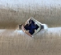SS Side-Set Square Blue Sapphire Ring Setting