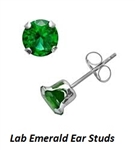 SS Ear Studs with Round Russian Emeralds