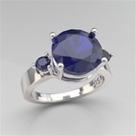 SS 9mm Blue Sapphire Stone w/ 2 round Blue Sapphire Ring