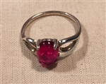 SS Red Ruby Lab Created Oval Cabochon Split Shank Ring