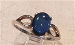 SS Blue Sapphire Lab Created Oval Cabochon Split Shank Ring