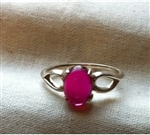 SS Pink Sapphire Lab Created Oval Cabochon Split Shank Ring
